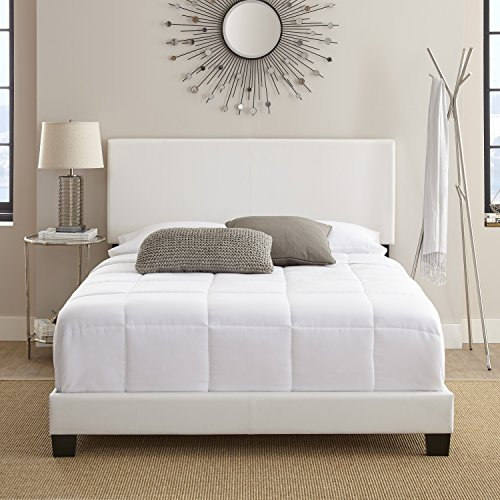 Contemporary White Upholstered Faux Leather Platform Bed Frame, Queen Size, Bedroom Furniture, Made from Heavy-duty Construction, Bundle with Our Expert Guide with Tips for Home Arrangement