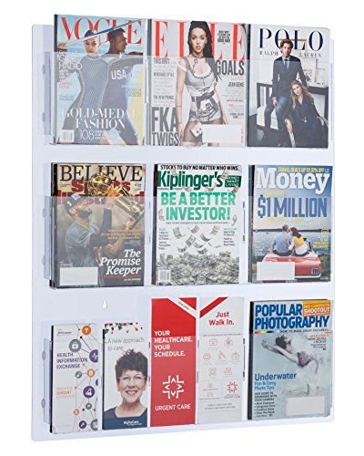 Acrylic Transparent Rack - AdirOffice Hanging Magazine Rack with Clear Acrylic Adjustable Pockets, 29