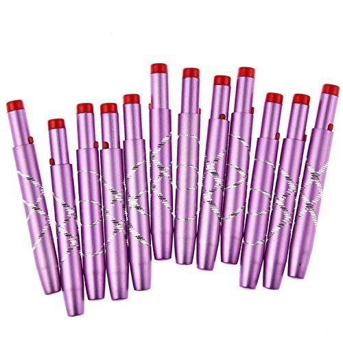 Davidsonne 12pcs Makeup Lip Brush Retractable Aluminum Professional Cosmetic Purple OEM