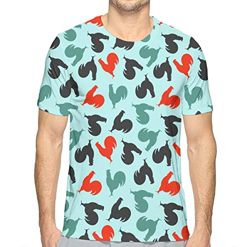 TAOHJS106 Funny Roosters Pattern Men s Crew-Neck Short Sleeve Tee Shirts  Best for Soccer dee8ad93372b