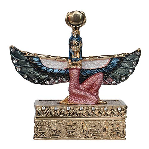 Egyptian Goddess Winged Isis Statue Golden Trinket Box Figurine Miniature Gifts Jewelry Ring Holder