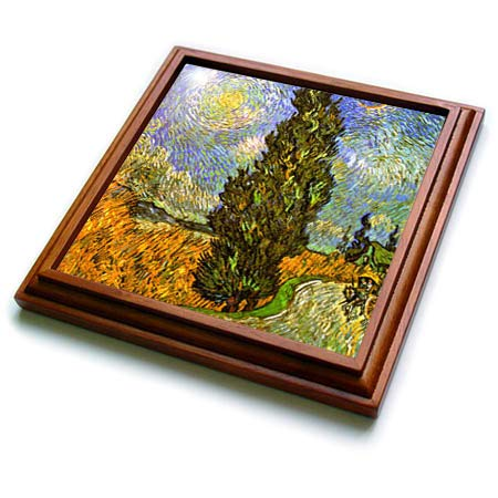 - 3dRose VintageChest – Masterpieces - van Gogh - Road with Cypress and Star - 8x8 Trivet with 6x6 ceramic tile (trv_303220_1)