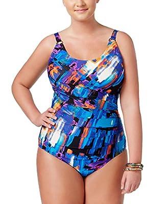 Calvin Klein Womens Monet Tiered One-Piece Swimsuit 10 Multi