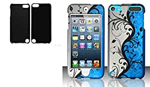 Combo pack Cellet Black Proguard For Apple iTouch 5 And For iPod Touch 5 - Rubberized Design Cover - Blue Vines