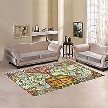 AnnHomeArt Giraffe in the world map Area Rug Modern Carpet 7'x5'