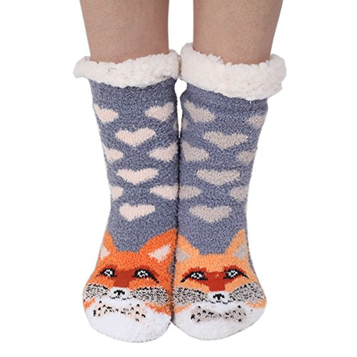 Socks Warm Animals Fuzzy Cute slip Womens Non Fox Cozy Winter Marlong Soft Indoor Slipper Cartoon OAgqXq