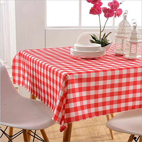 Moldiy 100% Polyester Large Dining Party Picnic Checkered Tablecloth, Indoor&Outdoor Water and Oil Resistant Rectangular,Red (Table Rectangle Large High)
