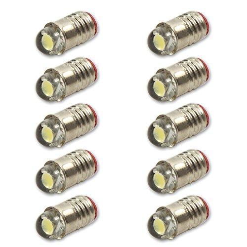 Evemodel E501W 10PCS Bright White LED Screw Bulb E5 E5.5 12V-14V Spur H0/TT/N Scale NEW