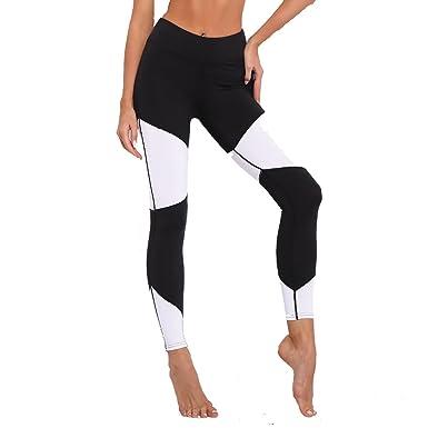 Moda Mujer Leggings Negros Y Blancos Pantalones Elásticos ...