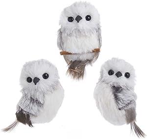 "Kurt Adler 3.9"" Gray W/White Fur Owl Ornament 3/A"