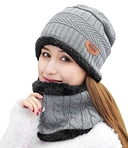 HINDAWI Winter Scarf Hat Womens Beanie Slouchy Knit Warm Snow Outdoor Skull Cap Grey