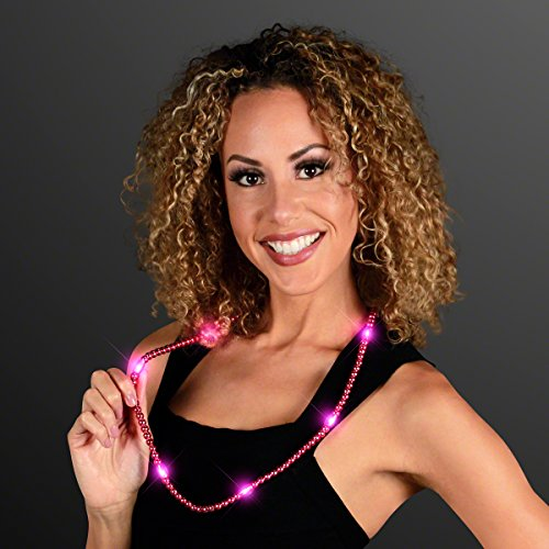 Pink Light Up LED Mardi Gras Bead Necklace -