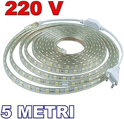 Nuova Striscia led 220 volt 5050 RGB 5 metri 300 led ip65 compreso controller