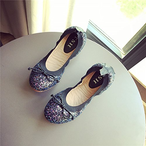 YFF Heel Women's Flat Heel YFF Shiny Bowknot Round Shoes Peas Shoes Shallow Comfortable Soft Bottom Flat Shoes,gray , 36... B072XJ8CR2 Parent 52f828