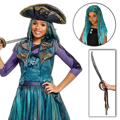 Birthdayexpress Uma Costume Descendants 2 Disney Girls Classic Isle With Wig And Sword Kit   7 8