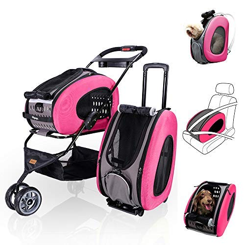 (ibiyaya 5 in 1 Pet Carrier + Backpack + CarSeat + Pet Carrier Stroller + Carriers with Wheels for Dogs and Cats All in ONE (Pink))
