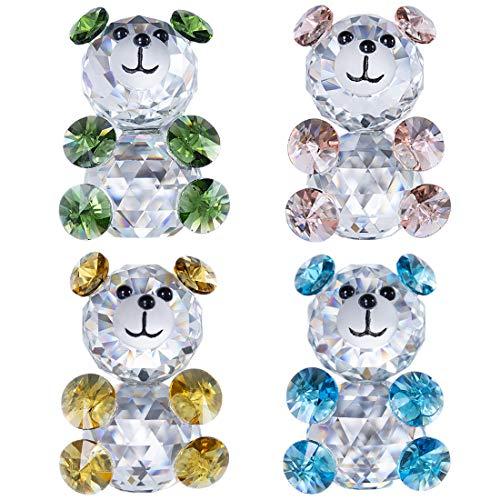H&D HYALINE & DORA 3D Little Bear Crystal Figurine Paperweights Glass Xmas Wedding Decoration,Set of 4