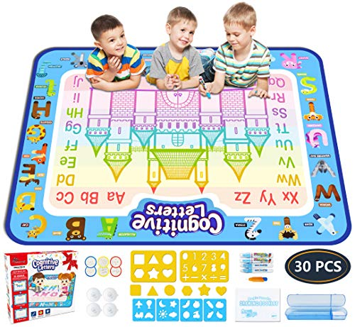 Jasonwell Aqua Magic Doodle Mat 39.5 X 31.5 Inches Extra Large Water Drawing Doodling Mat Coloring Mat Educational Toys Gifts for Kids Toddlers Boys Girls Age 2 3 4 5 -