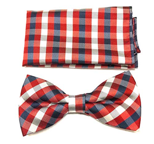 (Gingham Plaid Bow Ties for Men - Bow Tie with Matching Pocket Square - Red/Navy Blue)