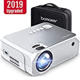 Bomaker Mini Projector, Upgraded 4000 Lux with 50,000 Hrs, 1080P and 250'' Display Supported Portable HD LED Projector, Compatible with TV Stick, PS4, HDMI, VGA, TF, AV and USB, with Carrying Case