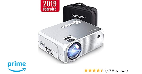 BOMAKER HD TV Projector, 3,600 Lux LED HDMI Projector with Carrying Bag,  1080P and 250'' Display Supported, Compatible with TV Stick, PS4, HDMI,  VGA,