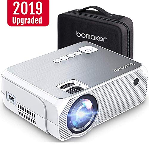 BOMAKER HD TV Projector, 3,600 Lux LED HDMI Projector with Carrying Bag, 1080P and 250'' Display Supported, Compatible with TV Stick, PS4, HDMI, VGA, TF, AV and USB (Best Hd Projector Under 200)