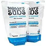 Molly's Suds All Natural Laundry Powder 120 loads, Bundle of 2. Free of Harsh Chemicals, Gentle on Sensitive Skin & Eczema. Contains Pure Peppermint Essential Oil