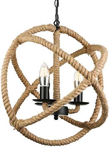 BAYCHEER HL371869 Industrial Retro Style Metal Hemp Rope Globe Cage Round Pendant Lamp Fixture Pendant Light Chandelier