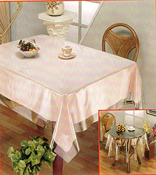 Golden Linens Clear Plastic Transparent Tablecloth Protector Water Proof Heavy Duty Easy Clean Rectangular 60 X 90 Long Lasting Kitchen Dinning Table Family gathering party Holidays