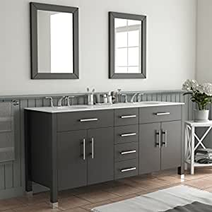 72 inch espresso double basin sink bathroom vanity set warren home kitchen. Black Bedroom Furniture Sets. Home Design Ideas