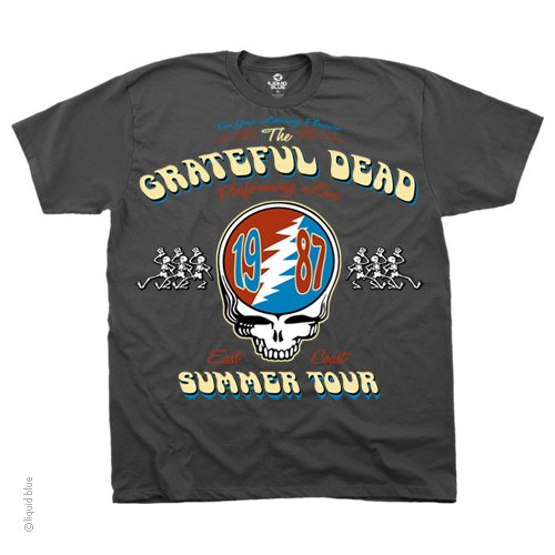 Liquid Blue Men's Summer Tour '87 T-Shirt, Grey, Large