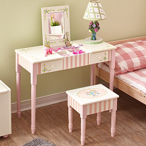 Fantasy Fields - Bouquet Thematic Wooden Kids Flip Top Mirror Makeup Vanity Table and Stool Set - 2 Drawers Real Mirror Play Set and Desk with Storage Stool, Non-Toxic, Lead Free Water-Based Paint from Fantasy Fields
