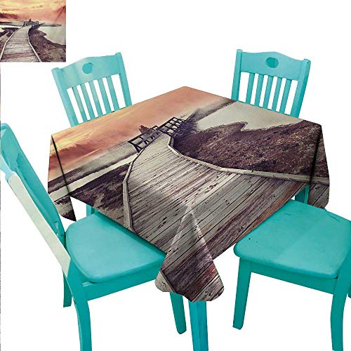 Yellowstone Elegant Waterproof Spillproof Polyester Fabric Table Cover Wooden Pathway Deck to Steamy Geyser in Yellowstone Park Tourist Attraction Picture Runners,Gatsby Wedding,Glam Wedding Decor,Vi ()