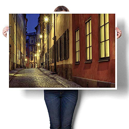 - SCOCICI1588 DIY 3D Painting Old Town StreIlluminated Night Streetlight Lamps and Historical cades Urban Home Wall Decor,16