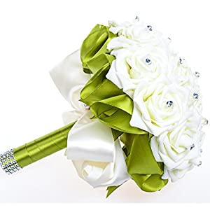 Belle House 2015 Artificial Flowers Silk Rose Crystal Bridal Wedding Bouquet WF036 111