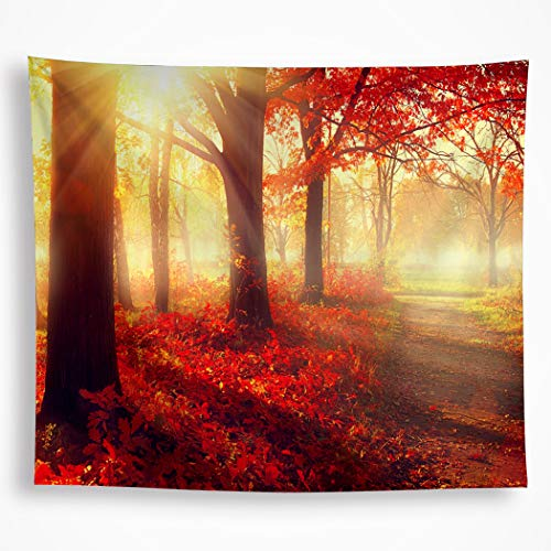 - All Smiles Autumn Tapestry Wall Hanging Fall Tree Red Leaves Sunset Wall Art Decor Bedroom Living Room 82.6