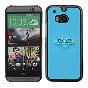 Soft Silicone Rubber Case Hard Cover Protective Accessory Compatible with HTC ONE? M8 2014 - blue frog cartoon grumpy monster