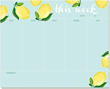 Made in The USA 7.25 x 9-52 Tear-Off Sheets Premium Undated Weekday /& Weekend Organizer,Plan Tasks /& Meetings Dogs Weekly Planner Pad by Faux Designs