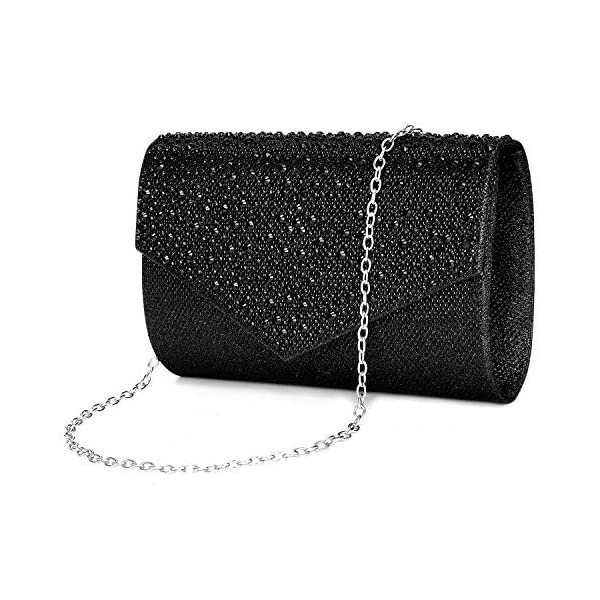 CurvChic Women Evening Bag Clutch Rhinestone Envelope Party Handbag Bridal Prom Purse