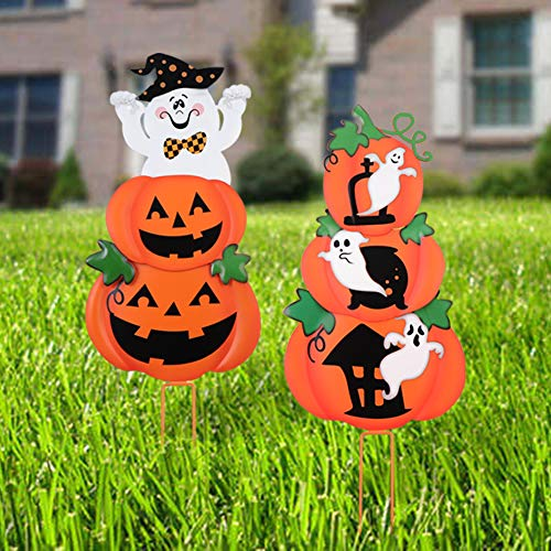Unomor Halloween Outdoor Decorations Pumpkin &Ghost Stake Signs 2 Sets -Cute Halloween Lawn Yard Decorations, Trick or Treat Halloween Prop