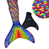 Fin Fun Mermaid Tail, Reinforced Tips, Monofin, Rainbow Reef, Size Child 8