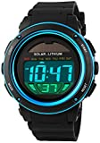 Fanmis S-Shock Multi Function Digital LED Quartz Watch Solar Power Black Sport Watches Blue