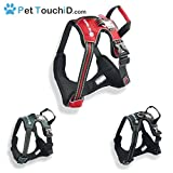 PetTouchiD - Integrated SMART ID, Front Range, Reflective, Secure Dog Harness (Small, Red)