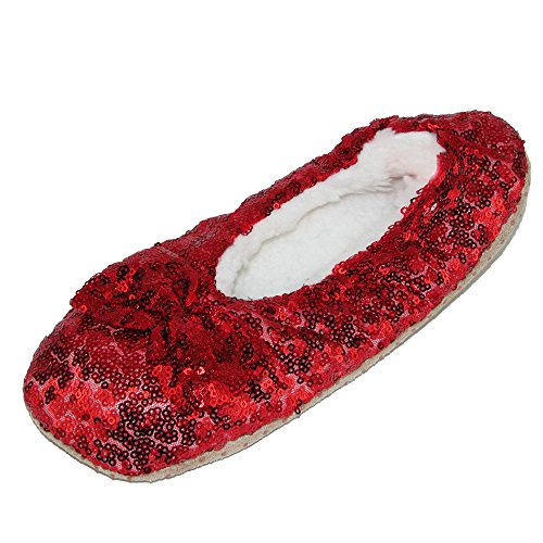 Alotta Knits Women's Sequins Ballerina Slippers with Sherpa Fleece Lining ()
