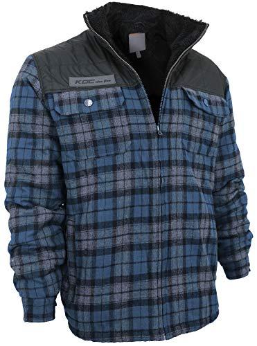 Fleece Plaid Coat - Men's Heavyweight Flannel Zip Up Fleece Lined Plaid Sherpa Hoodie Jacket (Medium, KDC Blue (No Hood))