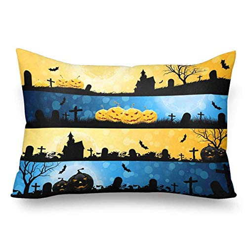 Lqiao Pumpkins House Tree Graves Pillow Cases Pillowcase Standard Size 20x30, Rectangle Pillow Covers Protector for Home Couch Sofa Bedding Decorative ()