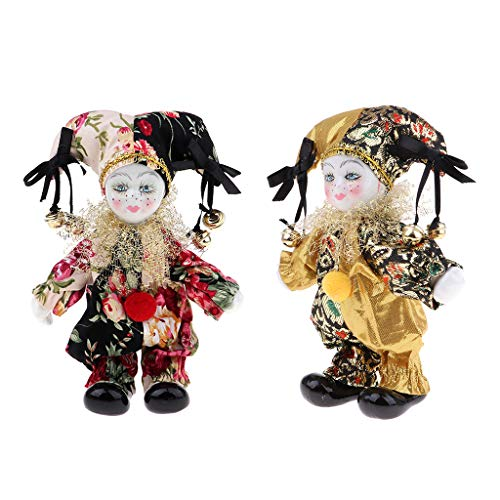 (CUTICATE Set of 2pcs Porcelain Dolls Collectible 16cm Height Harlequin Doll in Costume, Creative Valentin Gifts for Him or Girlfriend)