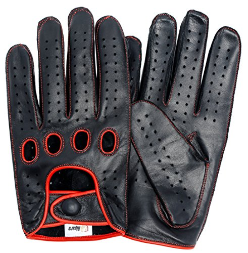 Riparo Genuine Leather Reverse Stitched Full-Finger Driving Gloves (X-Large, Black/Red Thread)