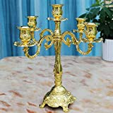 QARYYQ Five Arm Candlestick European Vintage Alloy Candle Holder Family Hotel Wedding Club High 31.5cm Incense Burner (Color : Golden)