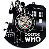 Doctor Who Art Vinyl Wall Clock Gift Room Modern Home Record Vintage Decoration